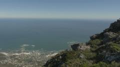 4K Table Mountain Rock Face Cliff Edge Ocean Horizon - stock footage