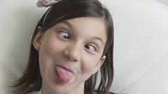 girl grimaces, hamming,joking - stock footage