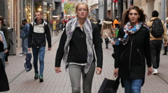 Time Lapse Zoom of Pedestrians in Busy Alley - The Hague Netherlands Stock Footage