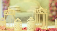 Wedding candlesticks and sofa with lace. Dynamic change of focus. Close up Stock Footage