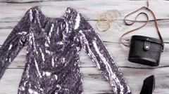 Sparkly dress with long sleeves. Stock Footage