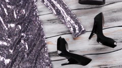 Sparkly dress with black shoes. Stock Footage