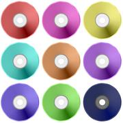 Colorful Realistic Compact Disc Collection Stock Illustration