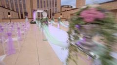 Holding wedding outdoor. Wedding ceremonyon. Dolly shot Stock Footage