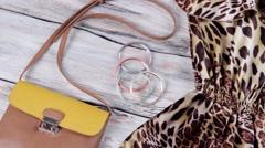 Leopard dress with bicolor purse. Stock Footage