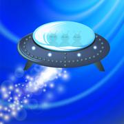 Spaceship Isolated on Blue Background. - stock illustration