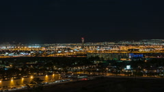 Dusk To Night Time Lapse With Zoom Out View Of McCarran Airport In Las Vegas Stock Footage