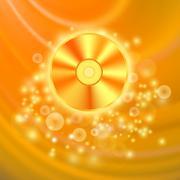Compact Disc Isolated on Orange Background Stock Illustration