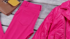 Bright pink jacket and pants. Stock Footage