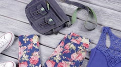 Floral trousers and blue top. Stock Footage