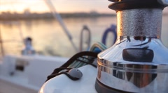 Steel winch without rope on sailing boat. Dynamic change of focus. Close up Stock Footage