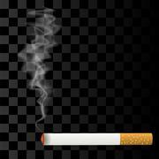 Burning Cigarette on Checkered Background. - stock illustration