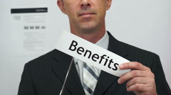 Businessman Cuts Benefits Concept Stock Footage