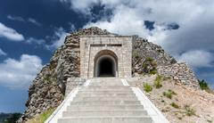 Stairway leading to tunnel and mausoleum of Peter Njegosh, Montenegro Stock Photos