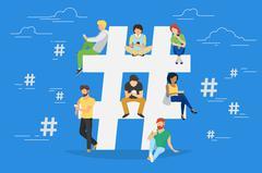 Hashtag concept illustration - stock illustration