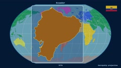 Ecuador - 3D tube zoom (Kavrayskiy VII projection). Continents Stock Footage