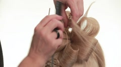 Final stage hairstyles for long hair. White. Close up - stock footage