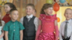 Children dancing, singing songs at a kindergarten Stock Footage