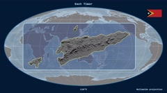 East Timor - 3D tube zoom (Mollweide projection) Stock Footage