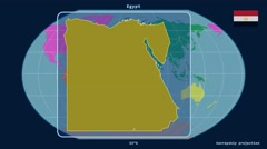 Egypt - 3D tube zoom (Kavrayskiy VII projection). Continents - stock footage