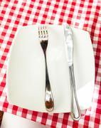 metal fork and knife lying on white plate at checkered red cloth - stock photo