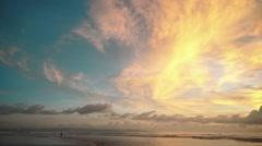 Beautiful ocean beach sunset panorama in Bali Stock Footage