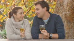 Young couple in love toast wedding engagement wine glasses autumn day Stock Footage