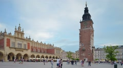 Poland, Krakow old town architecture, Market Square, Townhall, time-lapse. Stock Footage