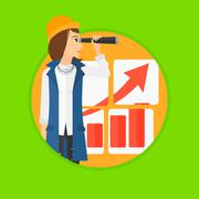 Woman searching opportunities for business growth Stock Illustration