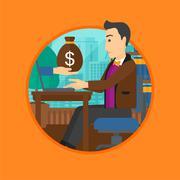 Man earning money from online business - stock illustration