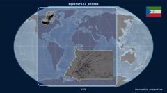 Equatorial Guinea - 3D tube zoom (Kavrayskiy VII projection) Stock Footage