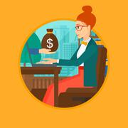 Woman earning money from online business Stock Illustration