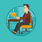 Businessman receiving or sending email - stock illustration