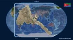 Eritrea - 3D tube zoom (Kavrayskiy VII projection). Satellite - stock footage