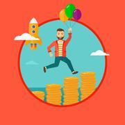 Successful business start up - stock illustration