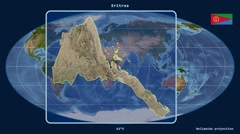 Eritrea - 3D tube zoom (Mollweide projection). Satellite - stock footage