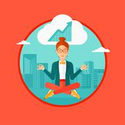 Peaceful business woman doing yoga Stock Illustration