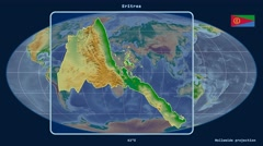 Eritrea - 3D tube zoom (Mollweide projection). Bumps shaded - stock footage