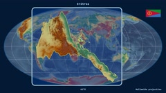 Eritrea - 3D tube zoom (Mollweide projection). Relief Stock Footage
