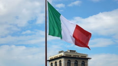 View of Italian national flag in Rome, Italy super slow motion 240fps Stock Footage