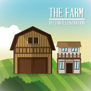 Farm barn icon, vector illustration Stock Illustration