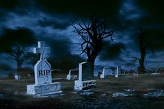 Foggy and Cold Graveyard at Night With Copy Space - stock photo