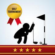 Golf design. Sport icon. Isolated illustration, editable vector - stock illustration