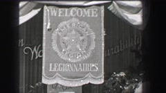 1937: Welcome Legionnaires American Legion street banner veterans of Stock Footage