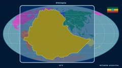 Ethiopia - 3D tube zoom (Mollweide projection). Continents - stock footage