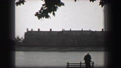 1937: Harvard school campus Charles River overlooking Baker Library.  CAMBRIDGE, Stock Footage
