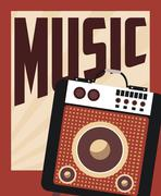 retro music, poster design, vector illustration - stock illustration