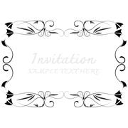 Invitation card with floral pattern - stock illustration