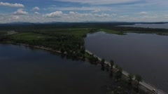 4K aerial of Lake Champlain, Vermont in the summer Stock Footage