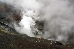 Tompaluan crater Lokon-Empung volcano Stock Photos